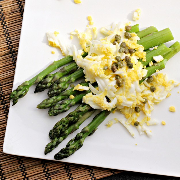 Grated eggs are a surprising addition to this asparagus appetizer.