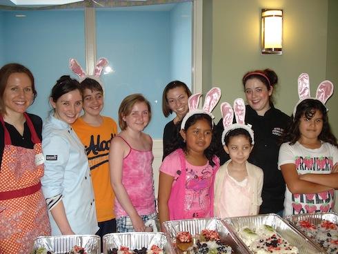 Megan, Katelind, Leonidis, Chloe, Dora, Priscilla, Antoinette, Chef Rena & Jacinda present the final Bunny Cakes!