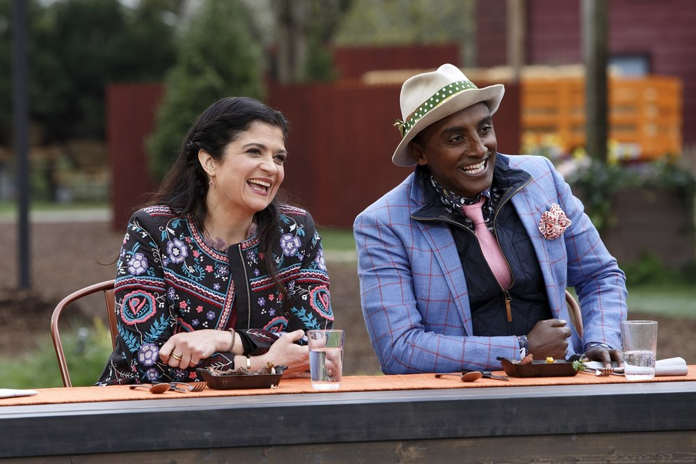 Judges Alex Guarnaschelli and Marcus Samuelsson share a laugh.JPG