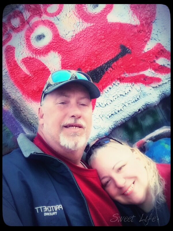 Allen and I, a selfie at Cadillac Ranch.
