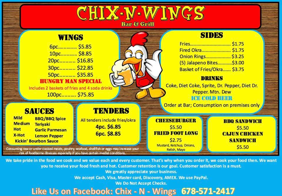 Chix-n-Wings Menu