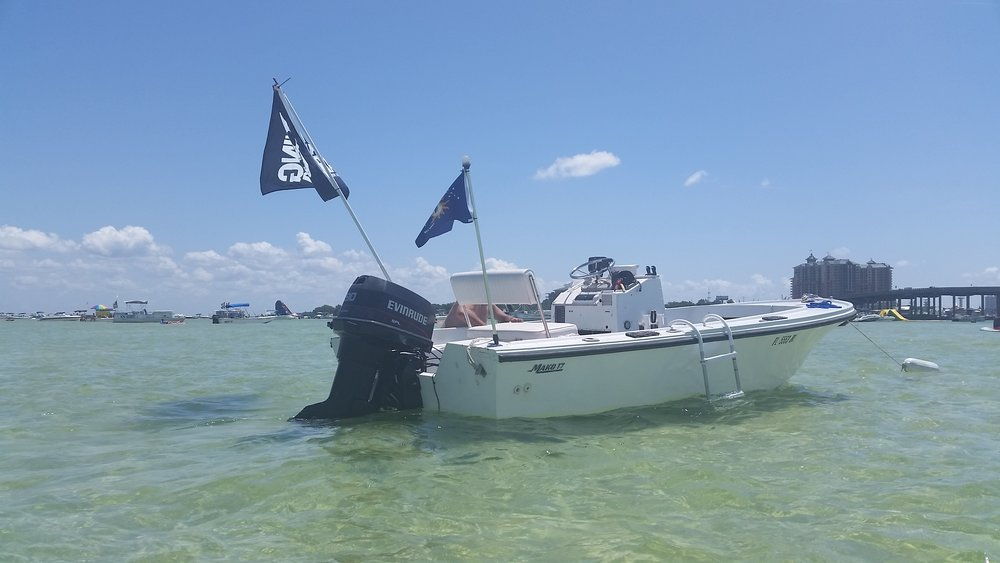 Our boat a few summers ago at Crab Island, Destin, Florida