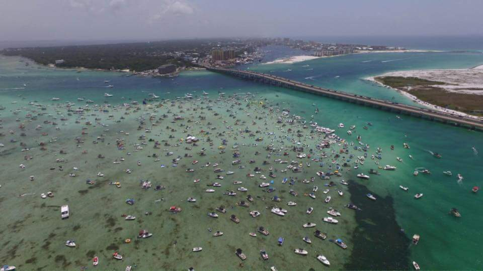 Aerial view of Crab Island in Destin, Florida.