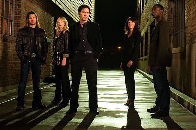 Leverage cast left to right Elliot Spencer (Christian Kane), Parker (Beth Reisgraf), Nathan Ford (Timothy Hutton), Sophie Devereaux (Gina Bellman), Alec Hardison (Aldis Hodge)