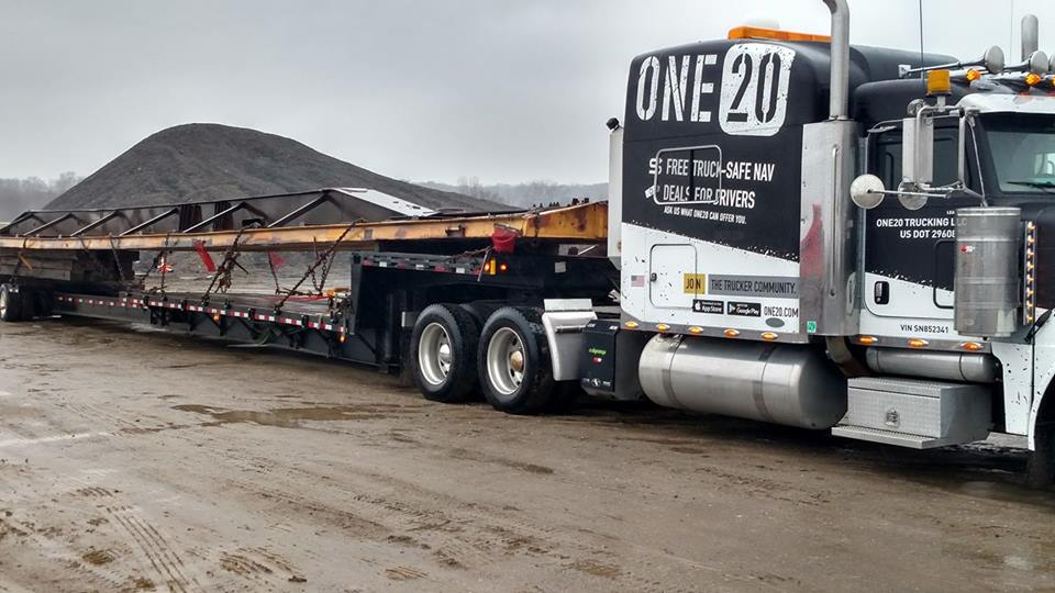 The One20 truck getting it done.  Yes, they even haul freight.  This isn't just another CEO business person company.  They have actual trucking experience.