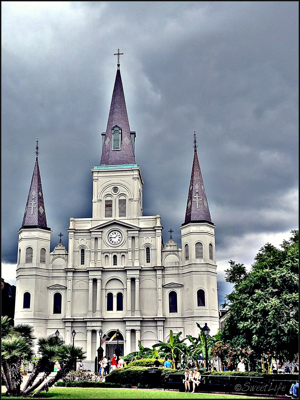 View of the Cathedral from Jackson Square in New Orleans.