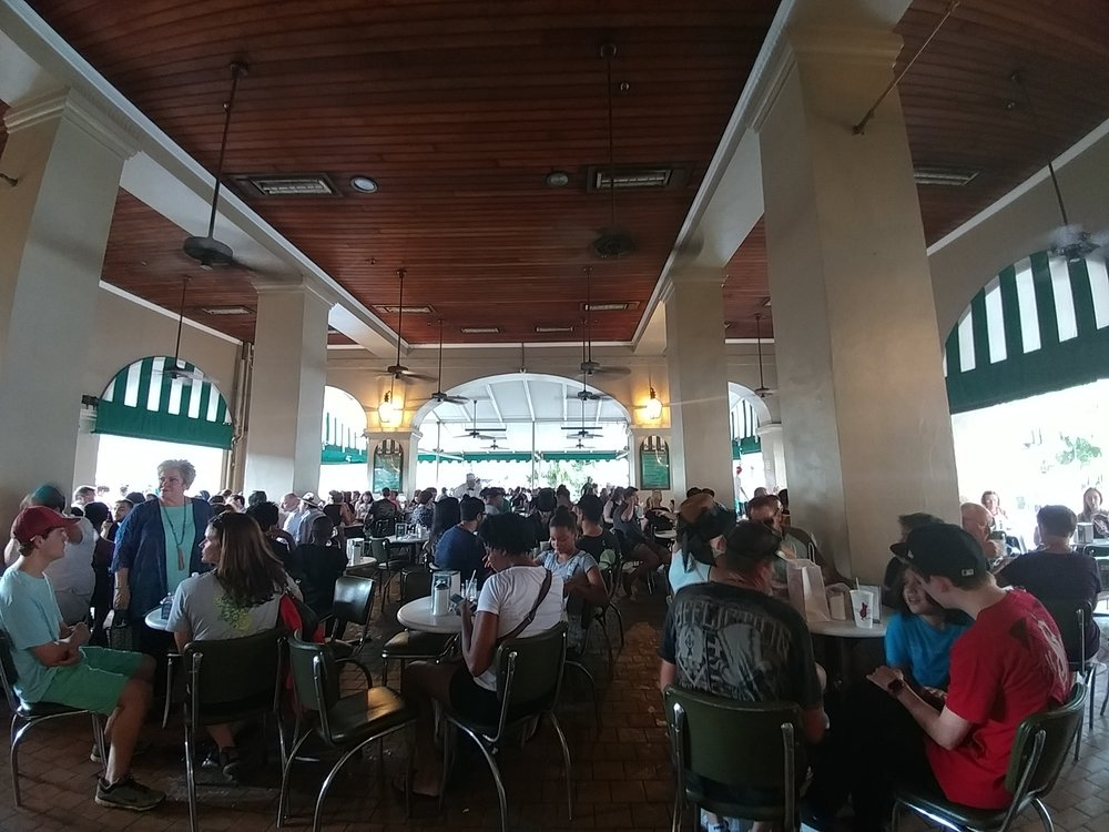 A view from inside the open air cafe of Cafe du Monde in New Orleans.