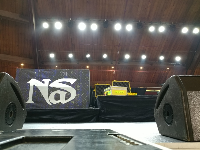 Stage crew setting up for tonight's show in Connecticuit.
