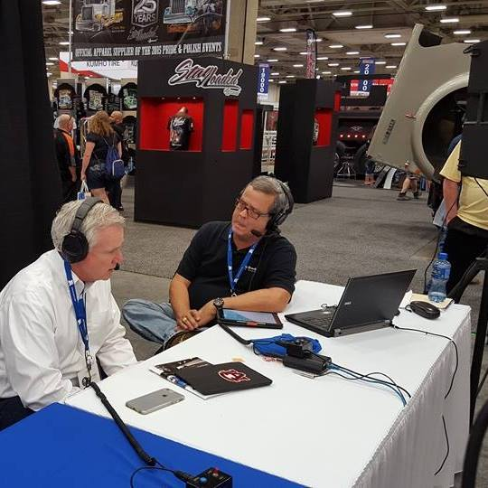Mark Willis interviewing on the air during the truck show.