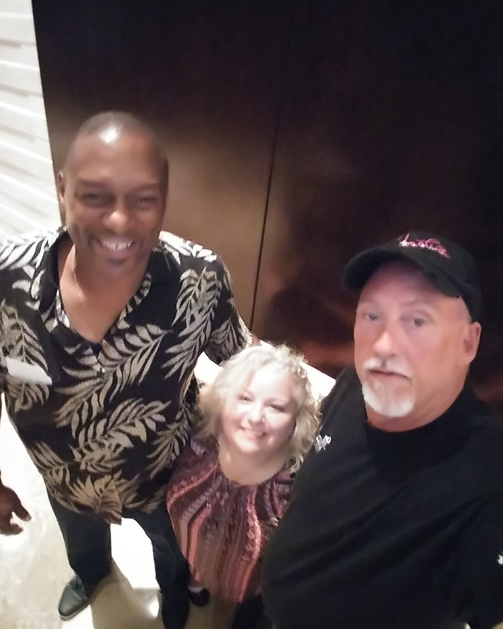 Here I am (in the middle) meeting gentle giant, Carey Hall (right), from Ice Road Truckers at the Great American Truck Show in Dallas with my fiance' Allen Wilcher (left).