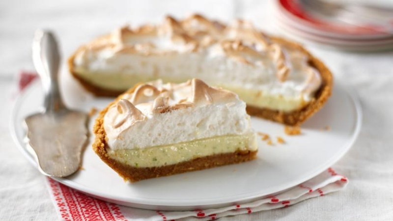 Key Lime Pie with a baked meringue topping.
