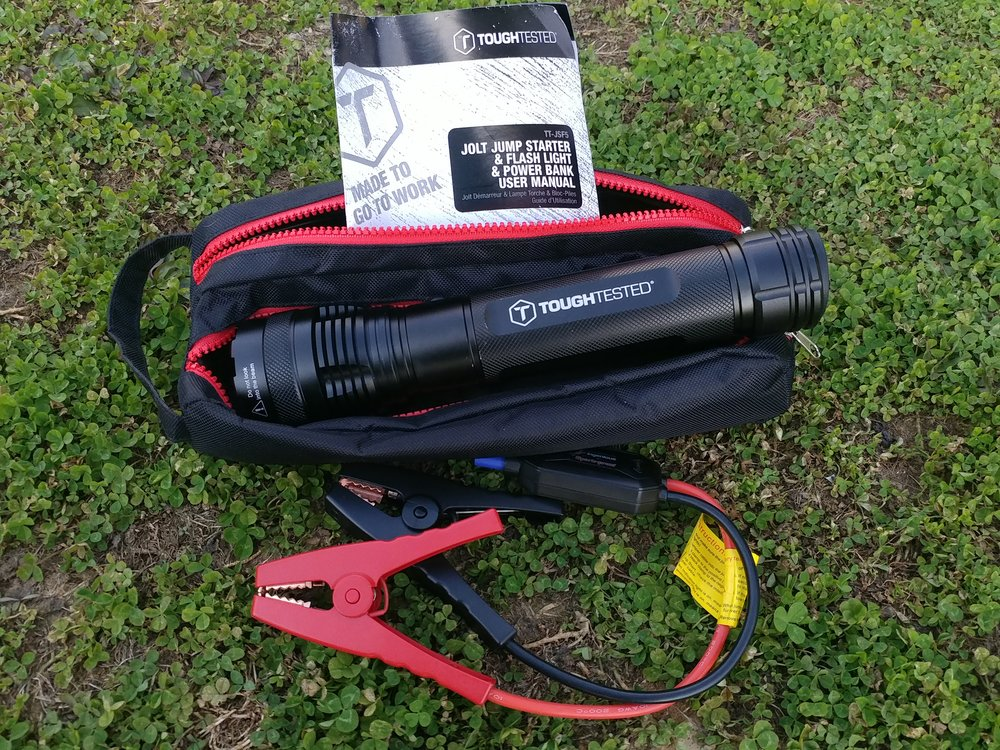 Tough Tested Jolt jumpstarted and carrying case