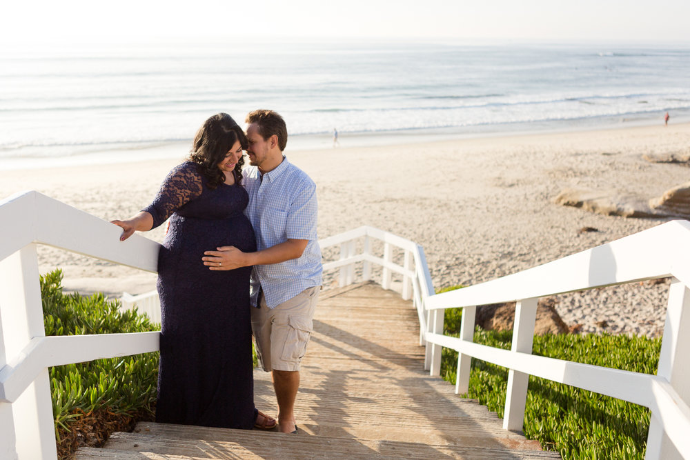 San Diego Maternity Photographer Christine Dammann Photography Windansea La Jolla Couple on stairs WS-1.jpg