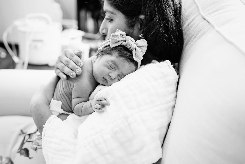 San Diego Newborn Photographer Christine Dammann Photography lifestyle newborn baby in moms arms