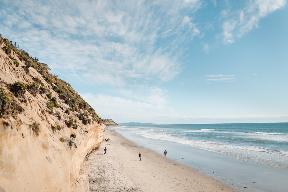 view of the Pacific Ocean and Encinitas beach with a beautiful cliff.