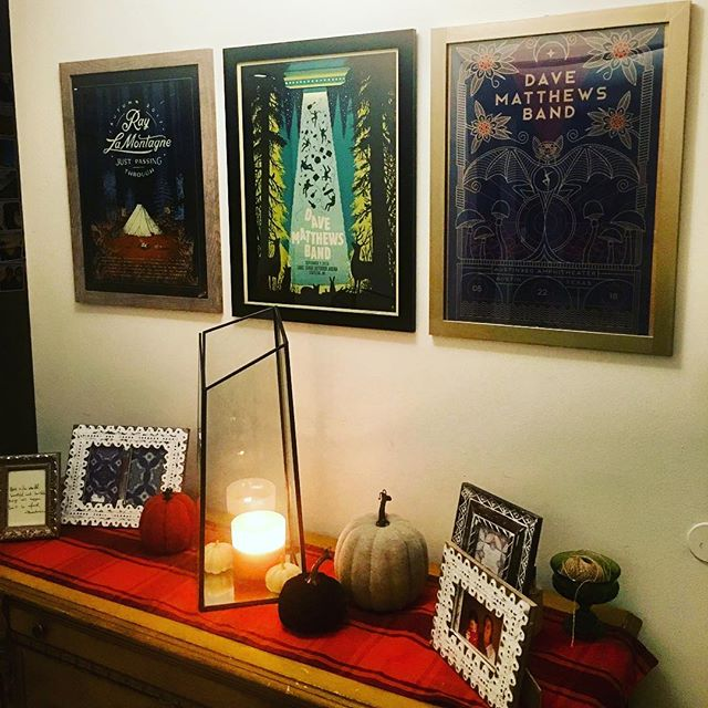 Finally framed and hung a few of our concert posters in the entryway. We're so glad to get to see them (you know, rather than having them in cardboard tubes in the hallway closet 😂) because they are so beautiful! Painted one of the frames today and voila! @davematthewsband @raylamontagne 🧡 🧡 #marryyourconcertbuddy #raylamontagne #dmb #davematthewsband #livelikeyoumeanit #concertposter #musicjunkie #musicoutdoors #falldecor #autumndecor