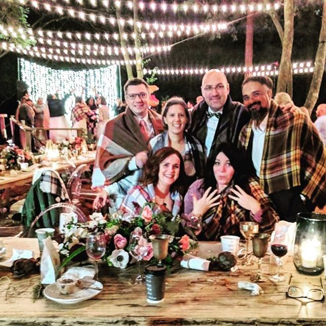 "Have you ever had dinner with strangers in a redwood grove? We did last night and these amazing people enriched the always unpredictable wedding table experience—-new friends. We agreed that ""Table 8"" was a big win. We represented @ijm @bgea @luis_palau and @compassion at this table. Rich conversations & time under trees. It got cold? Blankets provided by the bride and groom. What a party @laurennataliephotography —-thanks for introducing us to your wonderful friends @cbinnes. We loved celebrating your love—-what a beautiful experience!!"