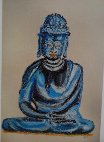 Blauer Buddah/ Blue Buddah  Wolfgang Foste, 2015  Pastellkreide/Pastel 42 x 30 cm