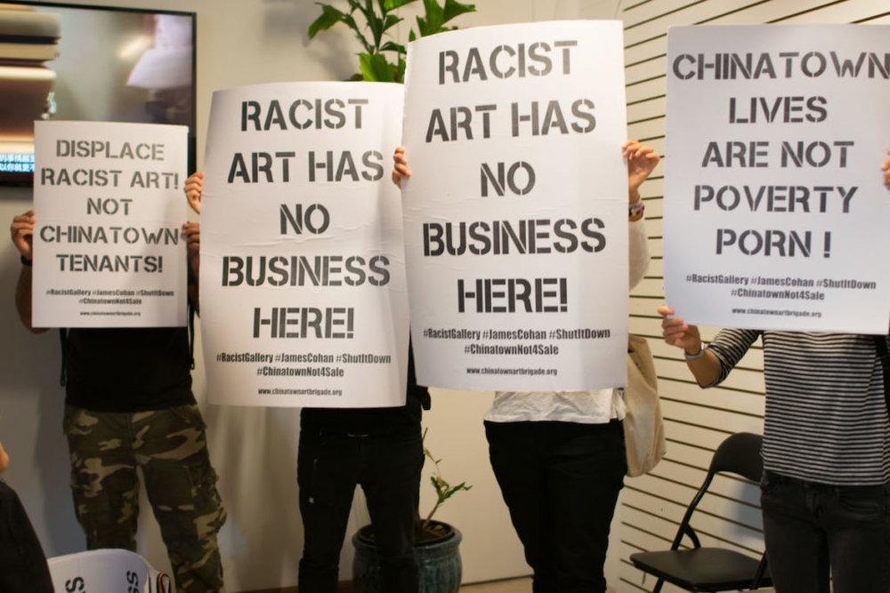 Protestors occupying James Cohan Gallery's Chinatown space yesterday. Photo: KahEan Chang