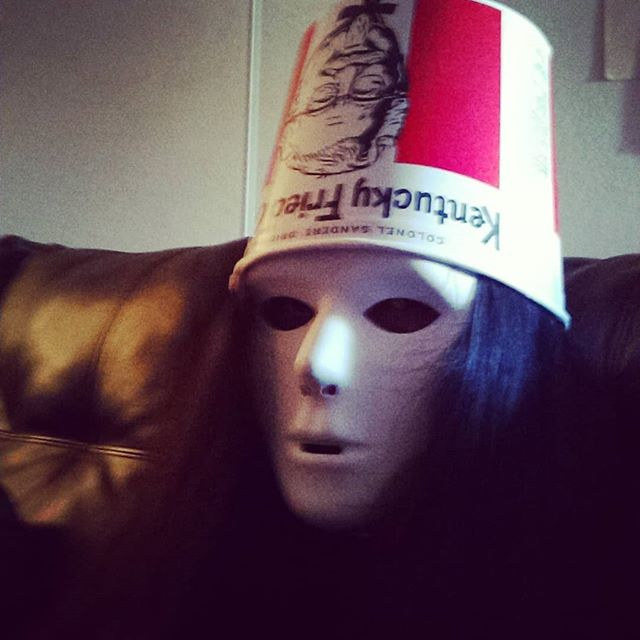 Yukkin' it up and having a great time with all my friends who are all over there, just slightly out of frame😂  #halloween #buckethead  #nathanfielder #goodtimes #friendship #party