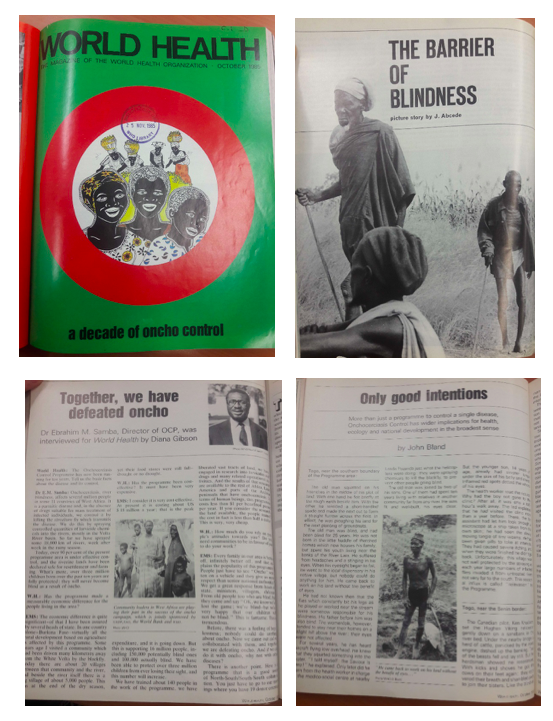 Examples of photographs and headlines depicting the impact of the Onchocerciasis Control Programme in the WHO's World Health magazine.