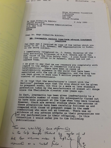 A confidential letter found at the WHO Archives, addressing drug safety concerns in Sudan.