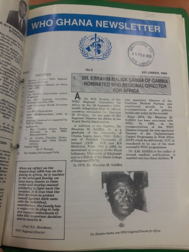 A 1994 WHO newsletter for Ghana, with details of local health events, found in the WHO library.