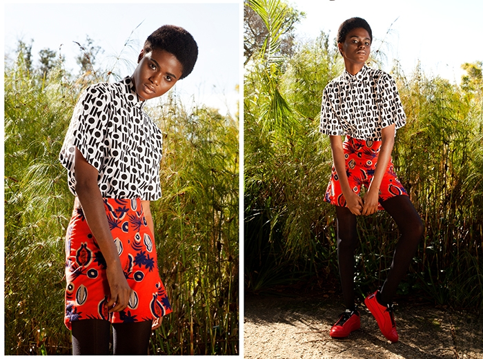 Imade wears Sindiso Khumalo Yoko shirt (R1710) and Sindiso Khumalo Lena shorts (R1710) from Merchants on Long, Red Puma X McQ Brace Lo (POR) from Puma SELECT