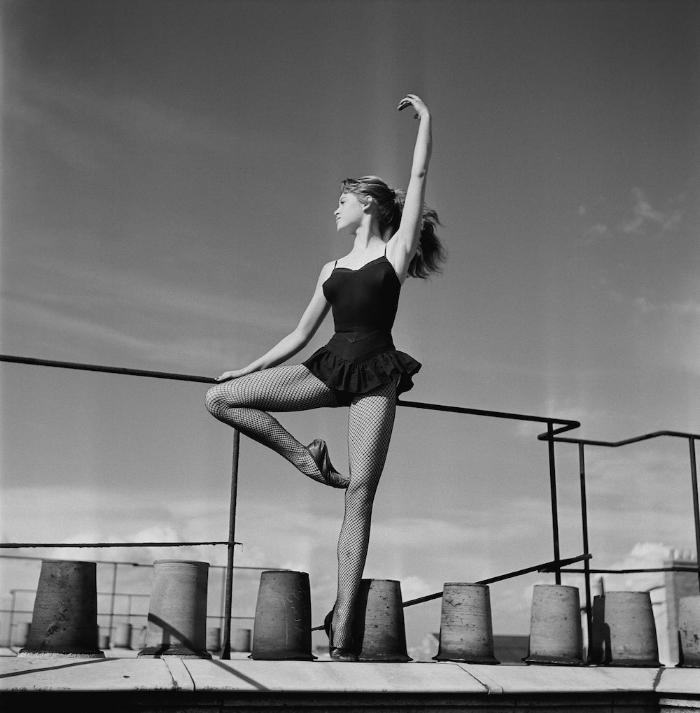 18-year-old Brigitte Bardot dancing on a roof in 1952