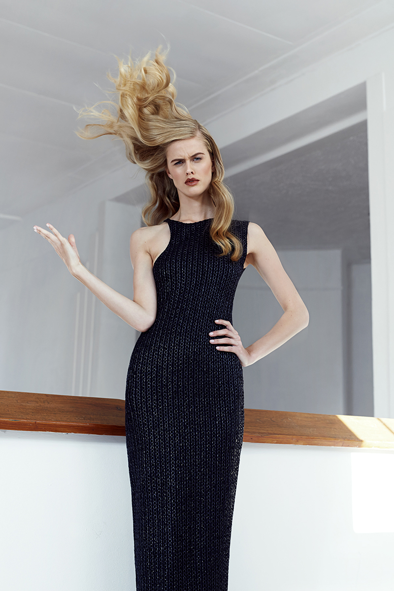 Black raffia racer neck dress,  Michael Maven