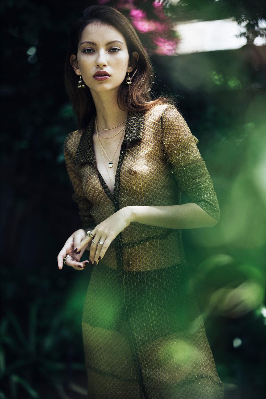 Silk dress, Michael Maven; black knickers, Intimissimi; necklace, Accessorize