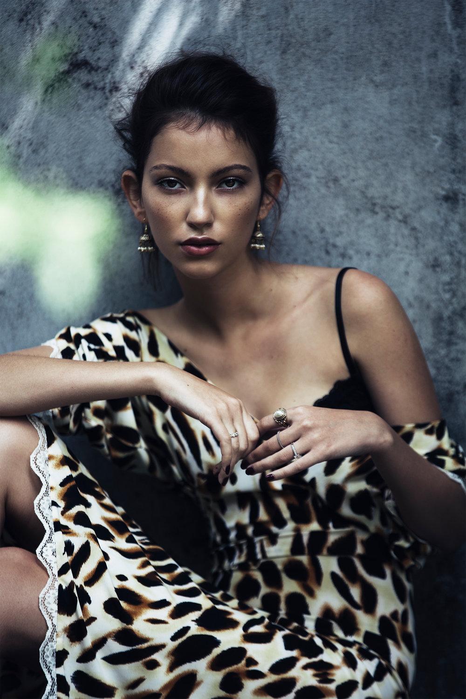 Leopard-print dress, Noël of Me by Demet Karatas; black lace bra, Forever 21