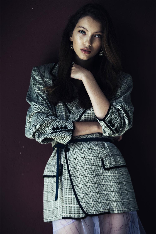 Vintage jacket, Nevernew; lilac mesh shorts, W35T; belt, Accessorize