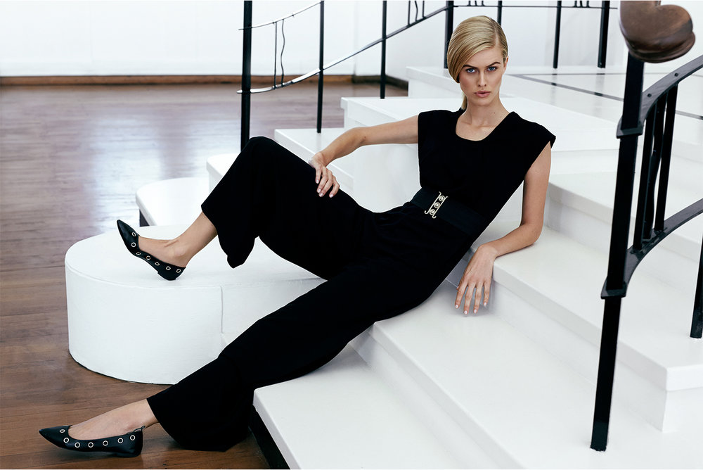 Black palazzo jumpsuit,  Amanda Laird Cherry ; black waist belt, stylist's own