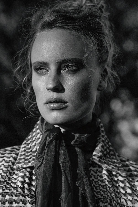 Velvet print jacket,  Stefania Morland ; tangerine silk scarf, stylist's own