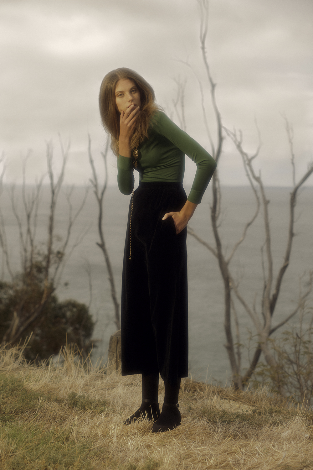 - Polo neck, American Apparel; skirt, Nelly De Grab; chain belt (worn as necklace), Gavonette; shoes, DKNY