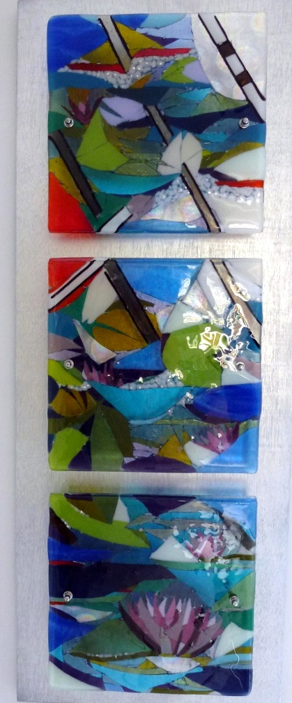 Tryptich Kiln Fused Glass Commission Jeanette Cook