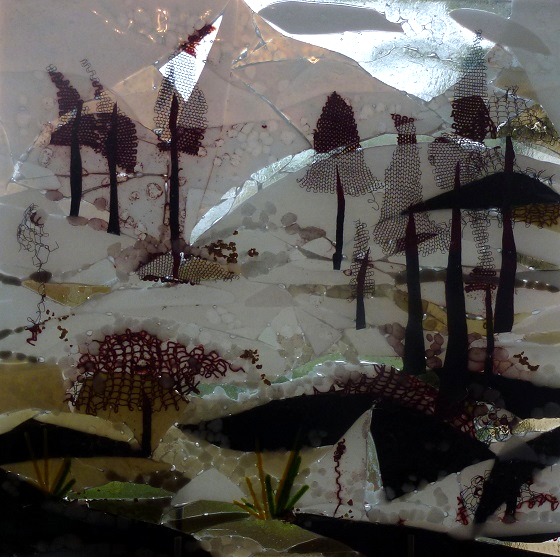 Winter Wonderland kiln fused glass by Jeanette Cook