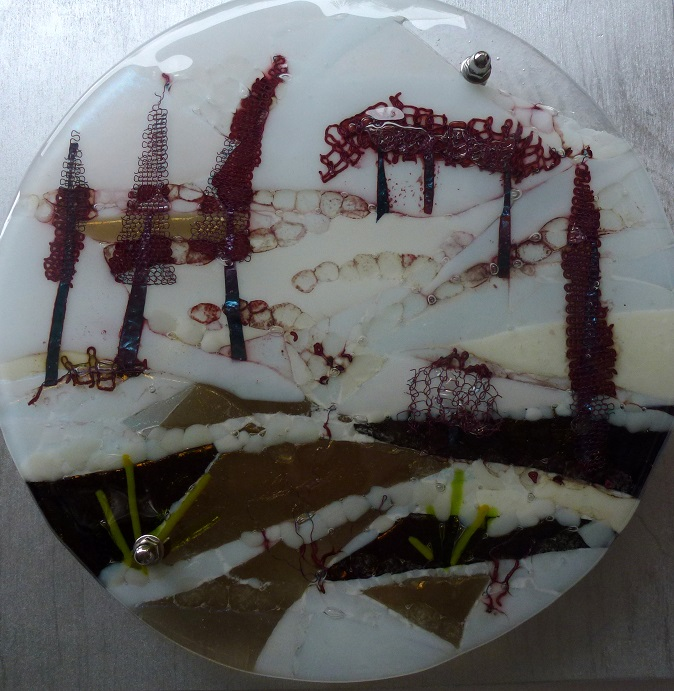 Wintery Vale kiln fused glass by Jeanette Cook