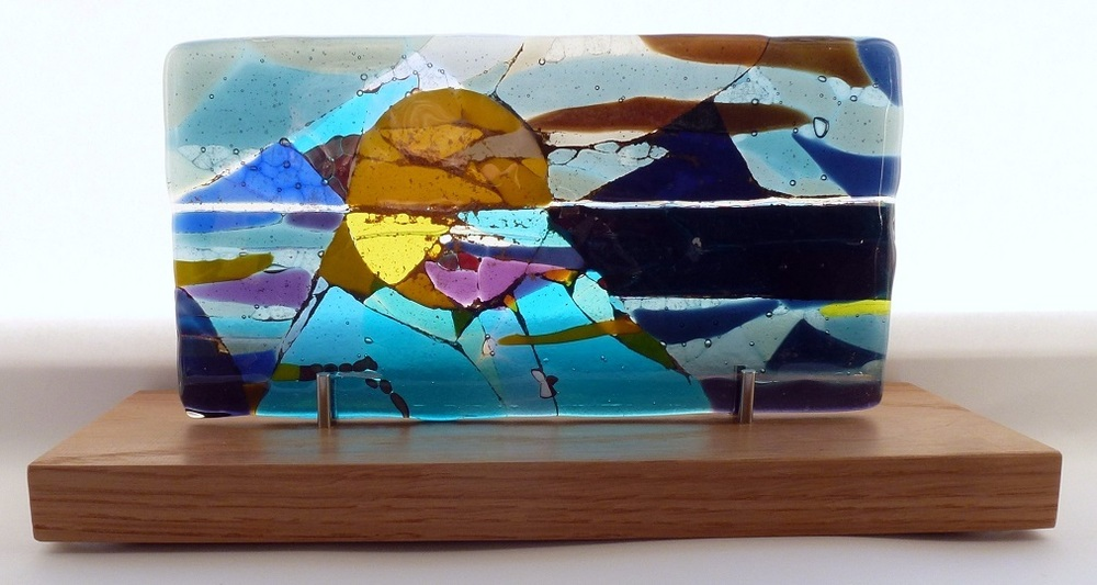 Moonrise - Landscape Series fused glass by Jeanette Cook