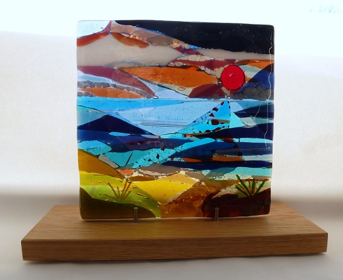 Evening – Landscape Series fused glass by Jeanette Cook