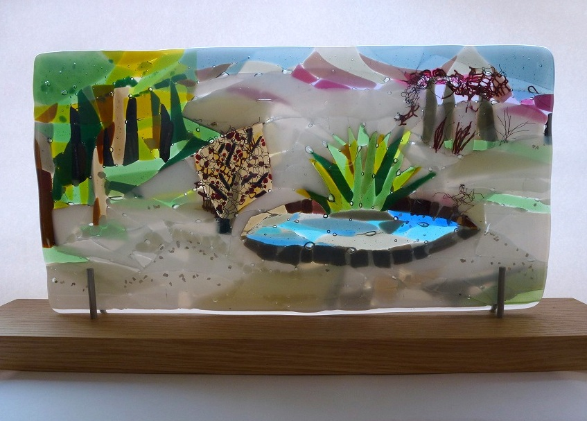 The Park (Winter) – Landscape Series fused glass by Jeanette Cook