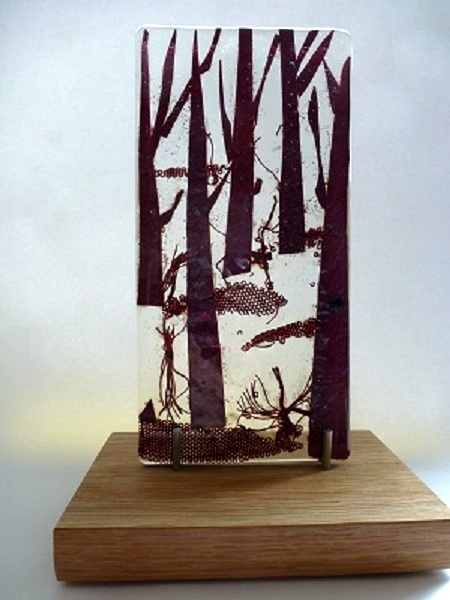 Dark and Deep – Landscape Series fused glass by Jeanette Cook