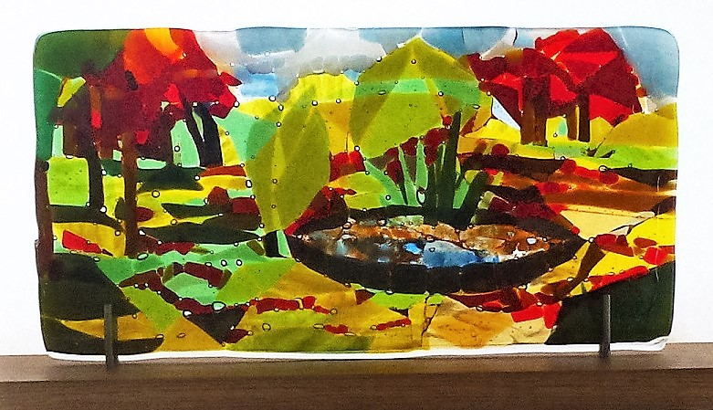 The Park (Autumn) – Landscape Series fused glass by Jeanette Cook