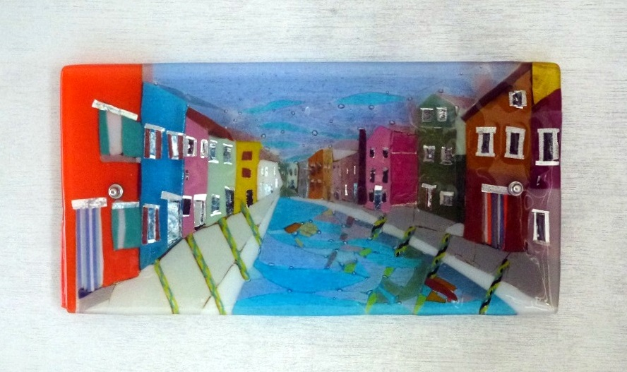 Burano II – Kiln Fused Glass Commission by Jeanette Cook