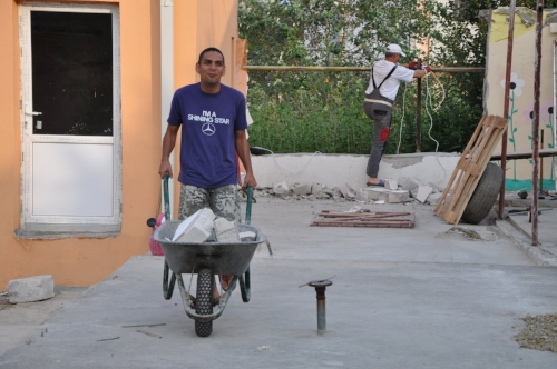 August 2016, Florin hard at work helping to re-vamp the RCE campus