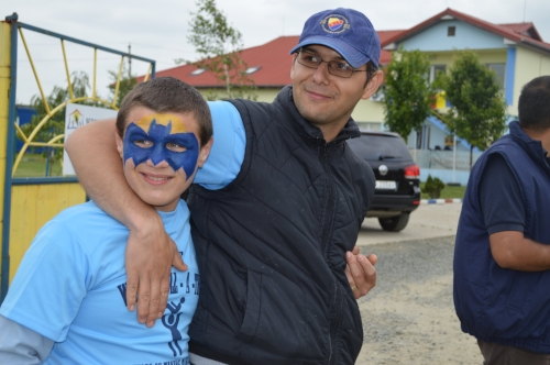 Claudiu and Cristi, one of our Sunshine School teachers, at a fun event at the school.