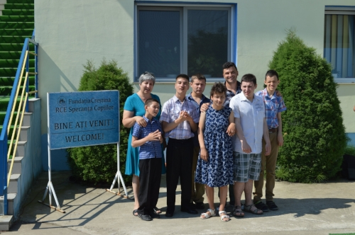 Claudiu (back center) and his class at the Sunshine School.