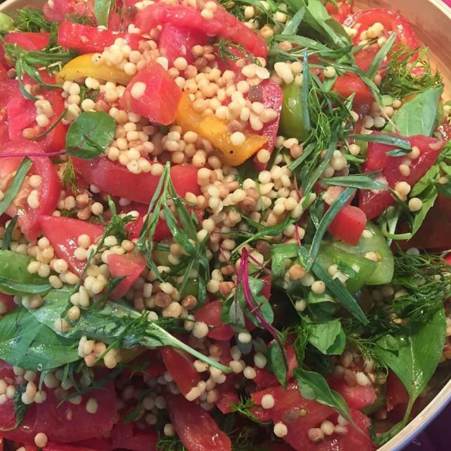 Heirloom tomato, fregola and herb salad. #seasonalfood  #veganrecipes #plantbaseddiet