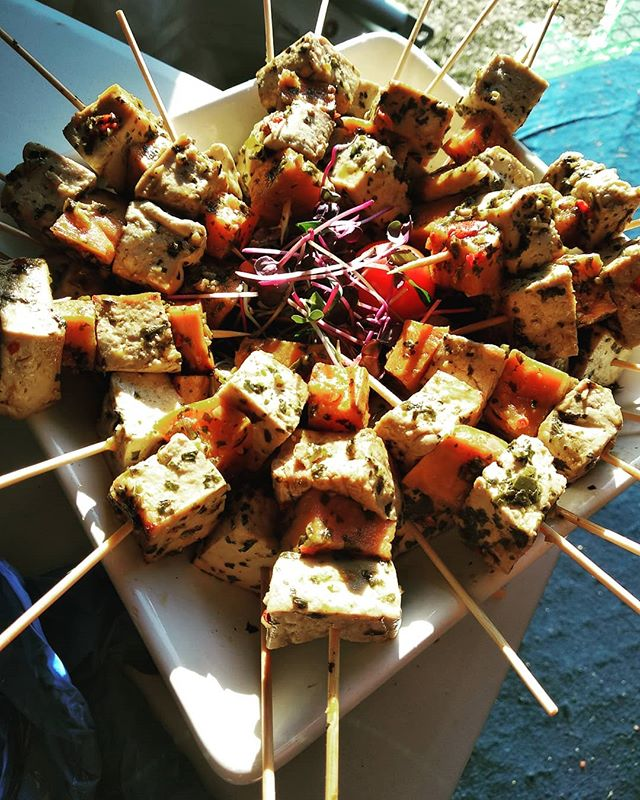 Marinated sweet potato and tofu skewers with Asian flavours - - #plantbaseddiet #caterer